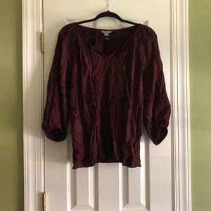 Wine colored flowy blouse